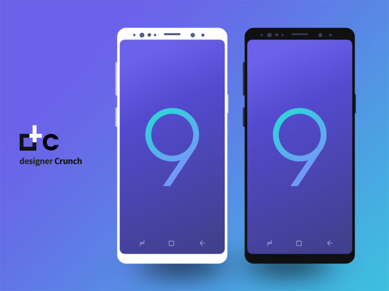 Samsung galaxy s9 flat In Black & White Color psd