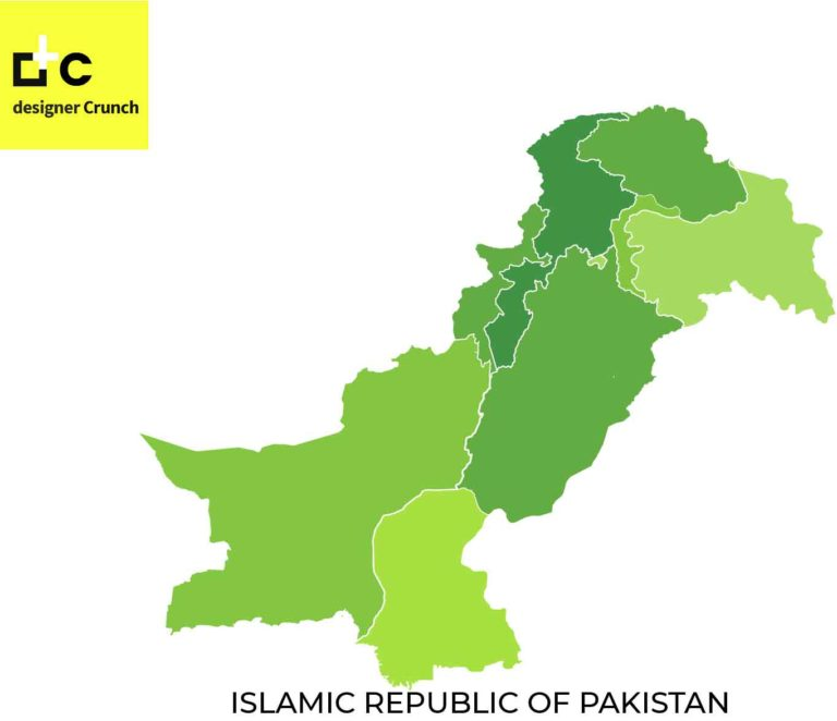 Complete Pakistan map with Kashmir vector
